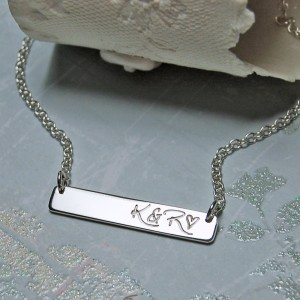 Personalised Sterling Silver Bar Necklace with Initials