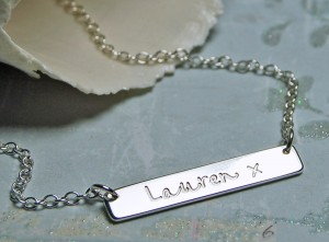 Personalised Sterling Silver Bar Necklace with Name