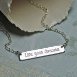 Personalised Sterling Silver Bar Necklace with Quote