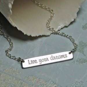 Personalised Sterling Silver Bar Necklace with Inspirational Words