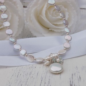 Freashwater Coin Pearl And Aquamarine Gemstone Wedding Necklace 3 copy