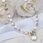 Freshwater Coin Pearl And Aquamarine Gemstone Wedding Necklace 4 copy