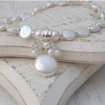 Freshwater Coin Pearl And Aquamarine Gemstone Wedding Necklace 9 copy