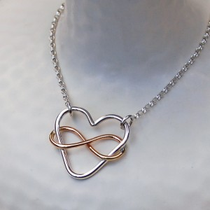 Infinite Love Necklace in Sterling Silver with Yellow Gold