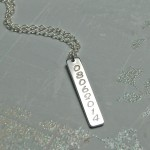 Personalised Silver Vertical Bar Necklace with Date