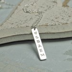 Personalised Silver Vertical Bar Necklace with Initials