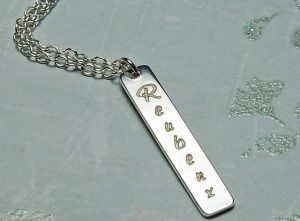 Personalised Silver Vertical Bar Necklace with Name