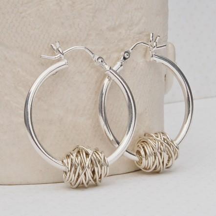 Sterling Silver Entwined Hoop Earrings
