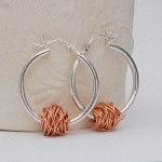 Sterling Silver and Rose Gold Entwined Hoop Earrings