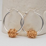 Sterling Silver and Yellow Gold Entwined Hoop Earrings