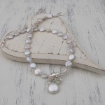 Freshwater Coin Pearl And Aquamarine Gemstone Wedding Necklace 6 copy