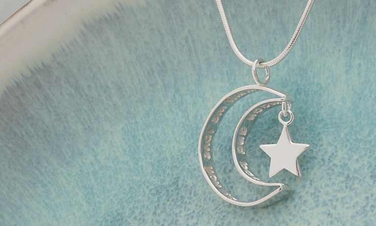 Personalised Secret Message Silver Moon Necklace