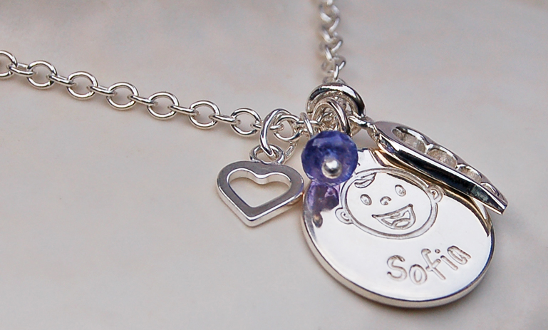 Personalised Silver New Baby Necklace