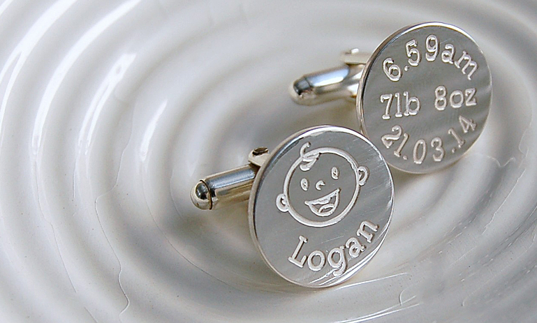 Personalised Sterling Silver New Daddy Cufflinks