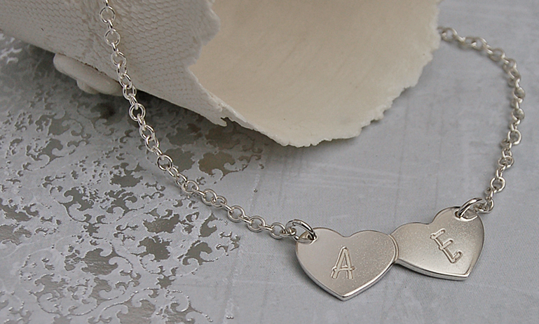 Personalised Silver Two Love Hearts With Initials Necklace