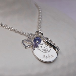 Personalised Silver New Mum Charm Necklace 3