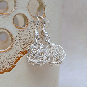 Silver Birds Nest Earrings 1