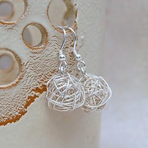 Silver Birds Nest Earrings 1