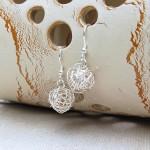 Silver Birds Nest Earrings 4