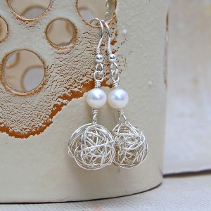 Silver Birds Nest and Pearl Earrings 1