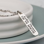 Mens Personalised Silver Bar Necklace 2
