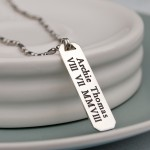 Mens Personalised Silver Bar Necklace 3