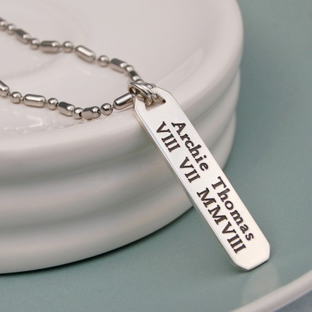 Mens Personalised Silver Bar Necklace