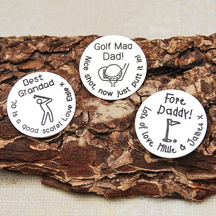 Personalised Silver Golf Ball Markers with Image