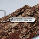 Personalised Silver Mens Bar Necklace with Roman Numerals on Stainless Steel Ball & Tube Chain