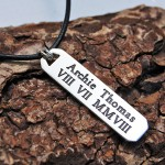 Personalised Silver Mens Bar Necklace with Roman Numerals on Leather Cord