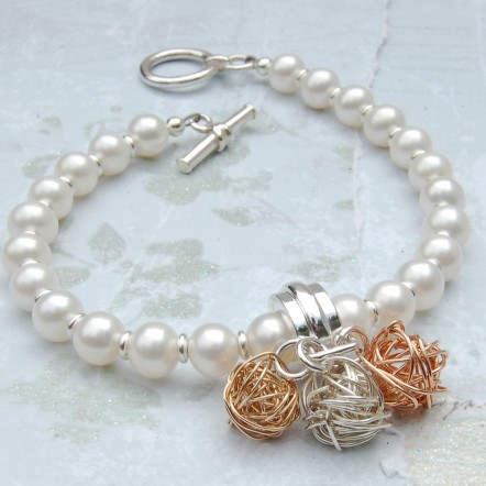 Pearl and Three Bird's Nest Bracelet 4 copy