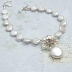 Coin Pearl & Aquamarine Charm Bracelet 1 copy