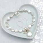 Coin Pearl & Aquamarine Charm Bracelet 3 copy