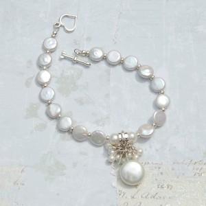 Coin Pearl & Aquamarine Charm Bracelet 4 copy