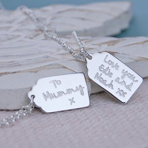 Handmade Personalised Vintage Gift Tag Shaped Necklace
