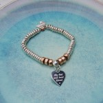 Personalised Sterling Silver Heart And Rose Gold Donut Bracelet 3 copy