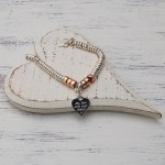 Personalised Sterling Silver Heart And Rose Gold Donut Bracelet 5 copy