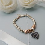 Personalised Sterling Silver Heart And Rose Gold Donut Bracelet 6 copy