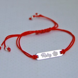 Girls Personalised Silver Bar Friendship Bracelet
