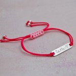 Girls Personalised Sterling Silver Bar Bracelet with Heart