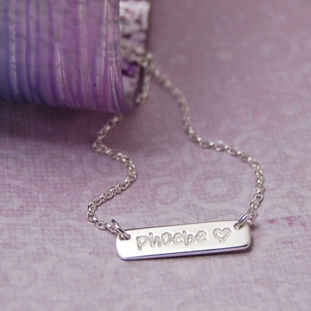 Girls Personalised Sterling Silver Bar Necklace
