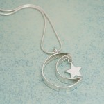 IndiviJewels Personalised Silver Secret Message Moon and Star Necklace Back View
