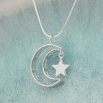 IndiviJewels Personalised Silver Secret Message Moon and Star Necklace Hanging