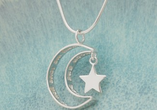 IndiviJewels Personalised Silver Secret Message Moon and Star Necklace
