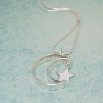IndiviJewels Personalised Silver Secret Message Moon and Star Necklace Side View