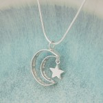 IndiviJewels Personalised Silver Secret Message Moon and Star Necklace Top View