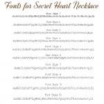 IndiviJewels fonts for Secret Heart Necklace