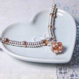 Sterling Silver & Rose Gold Bird's Nest Charm Bracelet 3 copy