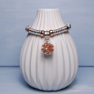 Sterling Silver & Rose Gold Bird's Nest Charm Bracelet 6 copy
