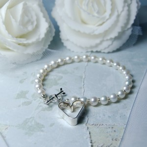 Sterling Silver Secret Heart And Pearl Bracelet 2 copy